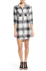 Women's Side Stitch Plaid Shirtdress Black White