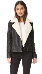 Cupcakes And Cashmere Amaya Vegan Leather Jacket With Sherpa Black