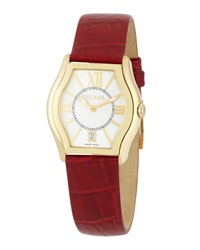 Escada Grace Watch With Croc Embossed Leather Strap Red