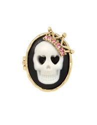 Betsey Johnson Skeletons After Dark Goldtone Cameo Skull Ring