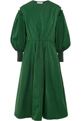 Toga Ruffled Taffeta Midi Dress Forest Green