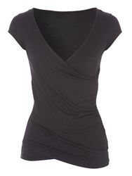 Jane Norman Short Sleeve Wrap Top Black
