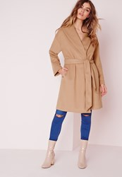 Missguided Long Wool Boyfriend Coat Camel Beige