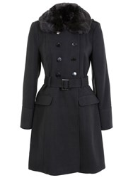 Miss Selfridge Belted Military Coat With Faux Fur Collar Dark Grey