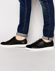 H By Hudson Anders Leather Trainers Black