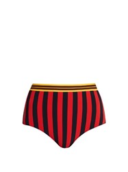 Stella Mccartney Calypso Contrast Striped Bikini Briefs Red Multi