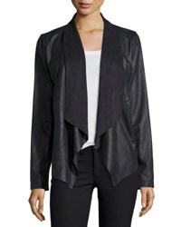 Cusp By Neiman Marcus Faux Suede Open Front Jacket Black