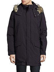 Tumi Faux Fur Trimmed Woven Down Jacket Black