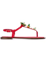 Dolce And Gabbana Embellished Flat Sandals Red