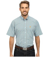 Cinch Short Sleeve Plain Weave Plaid Shirt Blue Men's Short Sleeve Button Up