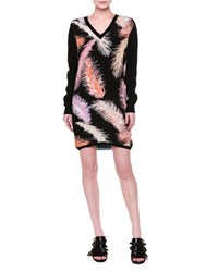 Emilio Pucci Long Sleeve Feather Print Sheath Dress Black Multi Women's Black Multi