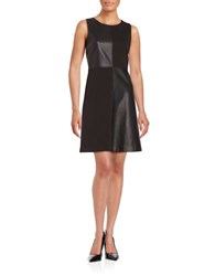 Tommy Hilfiger Faux Leather Accented A Line Dress Black