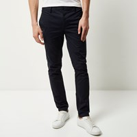 River Island Mens Navy Skinny Chino Trousers