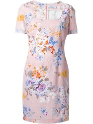 Blumarine Floral Print Square Neck Dress Pink And Purple