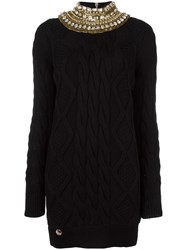 Philipp Plein Embellished Collar Cable Knit Dress Black
