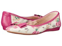 Cole Haan Tali Bow Ballet Pink Floral Snake Print Women's Slip On Shoes White
