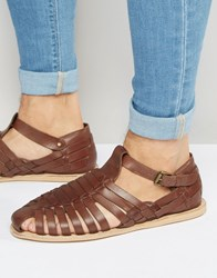 Dune Leather Sandals In Brown Brown