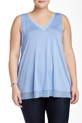 14Th And Union V Neck Trimmed Tank Plus Size Blue