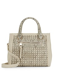 Sondra Roberts Saffiano And Snake Embossed Laser Cut Faux Leather Satchel Grey