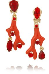 Oscar De La Renta Gold Plated Resin And Swarovski Crystal Clip Earrings Red