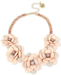 Betsey Johnson Gold Tone Pave Flower And Ribbon Collar Necklace Pink