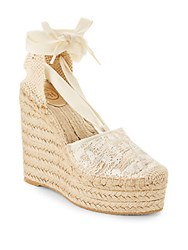 Ash Round Toe Lace Up Wedge Sandals Off White