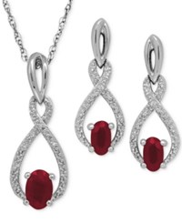 Macy's Ruby 1 1 3 Ct. T.W. And Diamond Accent Pendant Necklace And Drop Earrings Set In Sterling Silver