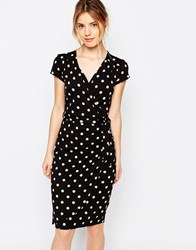 Yumi Uttam Boutique Polka Dot Wrap Dress Black