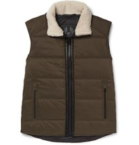 Belstaff Fyfield Shearling Trimmed Quilted Ripstop Gilet Army Green