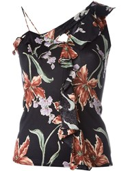 Christian Dior Vintage Frilled Floral Print Top Black