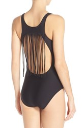 Luxe By Lisa Vogel Women's Luxe 'Fringe Benefits' Open Back One Piece Swimsuit Onyx