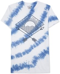 Jem Men's Tie Dyed Graphic Print T Shirt White Blue Multi