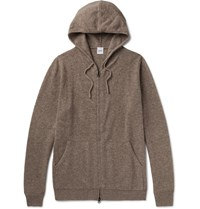 Aspesi Wool Yak And Cashmere Blend Zip Up Hoodie Beige