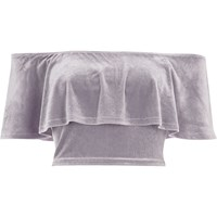River Island Womens Grey Velvet Deep Frill Bardot Crop Top