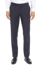Pal Zileri Men's Flat Front Solid Wool Trousers Navy