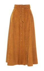 Martin Grant Suede A Line Skirt Tan