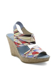 Andre Assous Reese Suede Platform Wedge Sandals Multi Colored