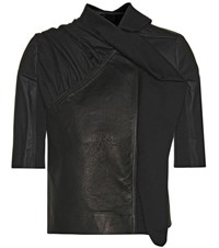 Rick Owens Leather And Fabric Jacket Black