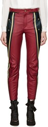 Chloe Black And Red Leather Biker Pants