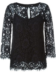 Twin Set Three Quarter Sleeve Lace Top Black