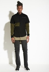 Forever 21 Intd Layered Colorblock Shirt Olive Black