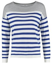 Zalando Essentials Jumper Grey Creme Blue Royal Stripes