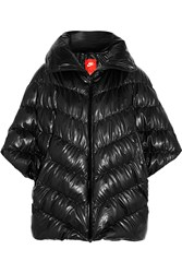 Nike Cascade Quilted Faux Leather Poncho Jacket Black