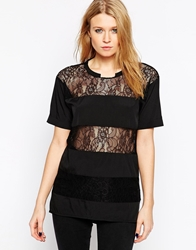 Y.A.S Short Sleeve Shirt With Horizontal Lace Inserts Black