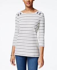 Charter Club Striped Lace Up Top Only At Macy's Cloud Combo