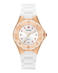 Michele Tahitian Jelly Bean Petite Carousel Watch White Rose