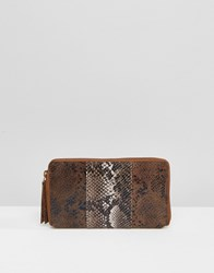 Urbancode Colour Block Leather Purse With Faux Snake Panel Br1 Brown 1