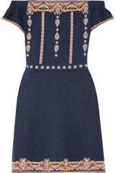 Tory Burch Nell Off The Shoulder Embroidered Cotton Mini Dress Navy