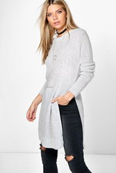 Boohoo Boucle Side Split Tunic Silver