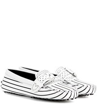 Tod's Gommini Rodeo Embellished Leather Loafers White